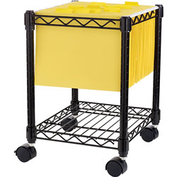 Lorell Compact Mobile Cart, 15-1/2 inx14 inx19-1/2 in, Black