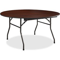 Lorell Folding Table, Round, 5/8 in Thick Top, 60 in x 18 in, Mahogany