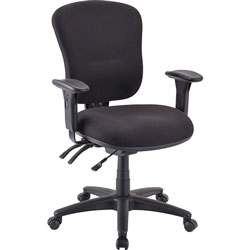 "Lorell Mid-back Task Chair, 26-3/4""x26""x39-1/4""-42"", Black"