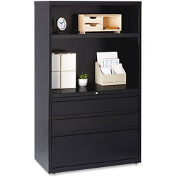 Lorell 3-Door Lateral Combo Unit, 36 in x 18-5/8 in x 60 in, Black
