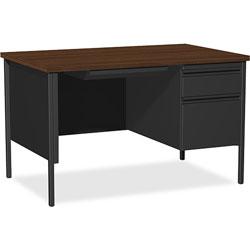 Lorell Single Pedestal Desk, RH, 48 in x 30 in x 29-1/2 in, Black Walnut
