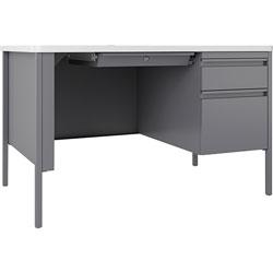 Lorell Desk, Right-Pedestal, 48 inx30 inx29-1/2 in, White/Platinum