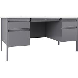 Lorell Desk, Double-Pedestal, 60 inx30 inx29-1/2 in, White/Platinum