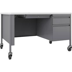 Lorell Desk, Right-Pedestal, Mobile, 48 inx30 inx29-1/2 in, White/Platinum