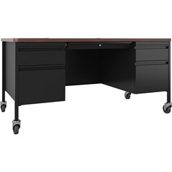 Lorell Desk, Double-Pedestal, Mobile, 60 inx30 inx29-1/2 in, Walnut/Black