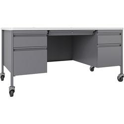 Lorell Desk, Double-Pedestal, Mobile, 60 inx30 inx29-1/2 in, White/Platinum