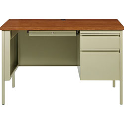 Lorell Right Pedestal Desk, Steel, 45-1/2 inx24 inx29-1/2 in, Oak/Putty