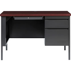 Lorell Right Pedestal Desk, Steel, 45-1/2 inx24 inx29-1/2 in, Charcoal