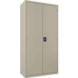 Lorell Double Door Wardrobe, Lockable, 36 inWx18 inLx72 inH, Putty