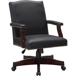 Lorell Traditional Executive Chair, 27-1/4 inx32-1/2 inx42-3/4 in, BK