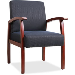 "Lorell Guest Chairs, 24""x25""x35-1/2"", Cherry/Midnight Blue"