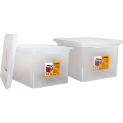 Lorell File Boxes, Legal/Letter, Stackable, 14-1/4 in x 18-1/8 in x 10-7/8 in, 2/BD, Clear