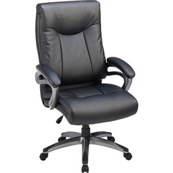 Lorell High-Back Exec Chair, Leather, 27 inx30 inx46-1/2 in, BK