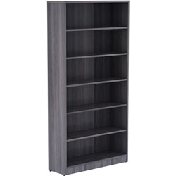 Lorell Bookcase, 6 Shelves, 36 inx12 inx72 in, Weathered Charcoal