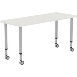 Lorell Height-adjustable 60 in Rectangular Table, Rectangle Top, 60 in Table Top Width x 23.62 in Table Top Depth, 33.62 in Height, Gray, Laminate