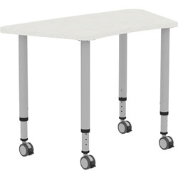 Lorell Height-adjustable Trapezoid Table, Trapezoid Top, 60 in Table Top Width x 23.62 in Table Top Depth, 33.62 in Height, Assembly Required, Laminated, Gray, Laminate