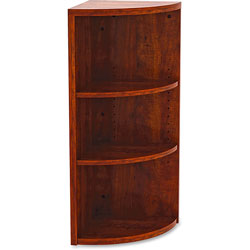 Lorell Corner Bookcase, 14-4/5 in x 14-4/5 in x 36 in, Cherry