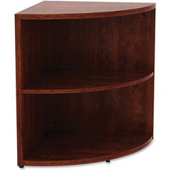 Lorell Corner Bookcase, 23-3/5 in x 23-3/5 in x 29-1/2 in, Cherry