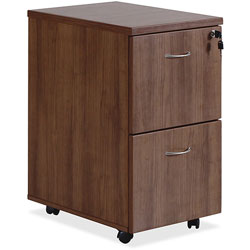 Lorell Mobile F/F Pedestal, 16 in x 22 in x 28-1/4 in, Walnut