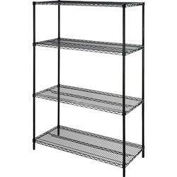 Lorell Wire Shelving Unit, 48 in x 18 in, Black