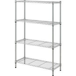Lorell Wire Shelving, 4-shelf, Light-duty, 36 inWx14 inDx54 inH, Silver