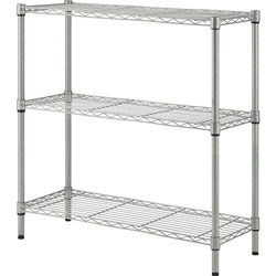 Lorell Wire Shelving, 3-shelf, Light-duty, 36 inWx14 inDx36 inH, Silver