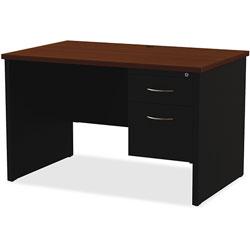 Lorell Right Pedestal Desk, 30 in x 448 in, Black/Walnut