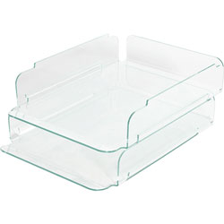 Lorell Stacking Letter Tray, Green Edge