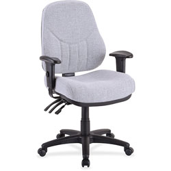 "Lorell Adjustable Highback Chair, 26 7/8"" WX28"" DX40 1/2 44"" H, Gray"