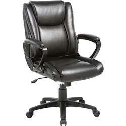 Lorell Chair, Bonded Leather, 24 inWx26-2/5 inLx38-1/4 inH, Black