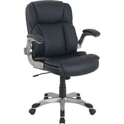Lorell Chair, Bonded Leather, 25-3/5 inWx28-1/10 inLx42-1/2 inH, Black