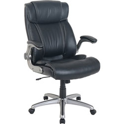 Lorell Chair, Bonded Leather, 24-1/2 inWx26-2/5 inLx40-1/10 inH, Black