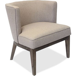 Lorell Linen Fabric Accent Chair, Accent, Beige Linen Fabric, 25-1/2 in x 29 in x 28 in, Walnut