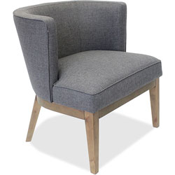Lorell Accent Chair, Gray Linen Fabric, 25-1/2 in x 29 in x 28 in, Walnut