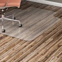 Lorell Hard Floor Chairmat, 45 inx53 in Lip, Clear