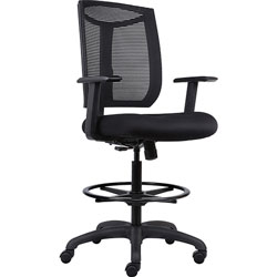 Lorell Stool, Mesh Back, Air Grid Seat, 25 in x 26 in x 52-1/2 in, Black