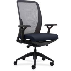 Lorell High-back Chair, Mesh Back, Adjustable Arms, 26-1/2 in x 25 in x 47 in, Dark Blue