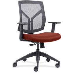 Lorell Mid-back Chair, Mesh Back, 26-1/2 in x 25 in x 45 in, Orange Fabric