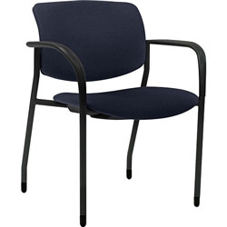 Lorell Stacking Chairs with Arms, Fabric, 25-1/2 in x 25 in x 33 in, 2/CT, Dark Blue