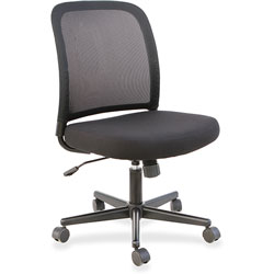 Lorell Task Chair, Mesh Back , No Arms, 24-3/8 in x 22-7/8 in x 37-3/8 in, Black