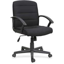 Lorell Task Chair, Fabric, Slope Arms, 26-3/4 in x 25-3/4 in x 39 in, Black