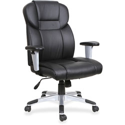 Lorell Exec Chair, Hi Back, Adjustable Arms, 28-7/8 in x 28-1/2 in x 46 in, Black Leather