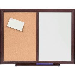 Lorell Dryerase/Bulletin Board Combo, 36 in x 48 in, Mahogany