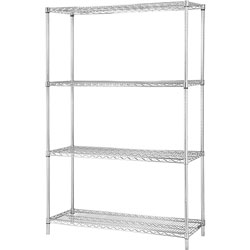 Lorell Industrial Wire Shelving Starter Kit, 48 in x 24 in, Chrome