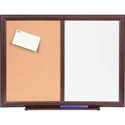 Lorell Dry-Erase Bulletin Board Combo, 24 in x 18 in, Mahogany