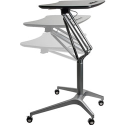 Lorell Height Adjustable Mobile Desk, 28-1/4 in x 18-3/4 in x 41 in, Black