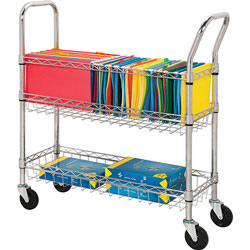 Lorell Wire Mail Cart, Chrome