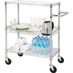 Lorell 3-Tier Wire Rolling Cart, 30 in x 18 in x 40 in, Chrome