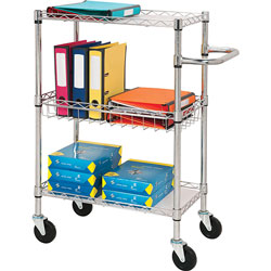 Lorell 3-Tier Wire Rolling Cart, 16 in x 26 in x 40 in, Chrome