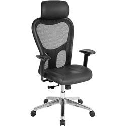 "Lorell Executive High-Back Chair, 24-7/8""x23-5/8""x52-7/8"", Black"